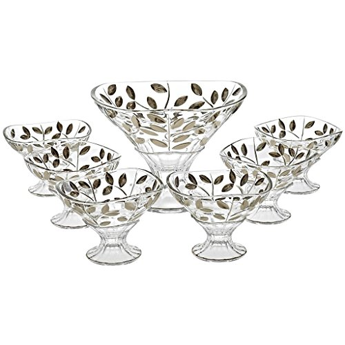 CRISTALICA Set of 7 Pieces, Punch Set, 6 Cups + 1 Bowl EDELRAUSCH, Handmade-Each Piece is uniwue, Modern Style (German Crystal Powered