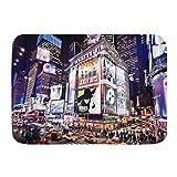 AoLismini Alfombra de baño Alfombras de baño, City New York Fachadas iluminadas de los teatros de Broadway en Night Street, Alfombras de Felpa para decoración de baño con Respaldo Antideslizante