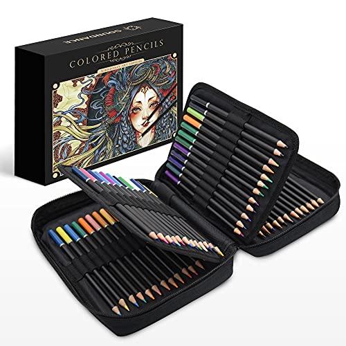 Soundance 72 Matite Colorate per Adulti, Set Matite Professionale di Disegno con Cerniera Caso e Soft Core, Accessori per la Casa D'arte per i Bambini Artisti