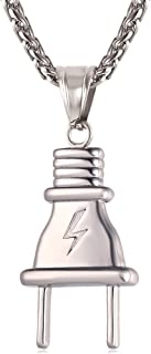 U7 Men Hip Hop Plug Pendant Stainless Steel Necklace 22 Inch Chain
