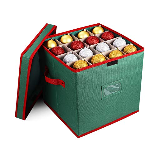 Cabilock Foldable Christmas Baubles Ornament Storage Box 600D Handle Cube Lid Storage Container Keeps 64 Holiday Ornaments Fabric Xmas Ball Decorations Accessories with Labeling Card Slot Green