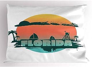 4 Piezas 18X18 Pulgadas Funda De Almohada Florida Beach,Yate Style Palms Y Torre Safeguard,Funda De Almohada Impresa De Tamaño Estándar para Decoración del Hogar