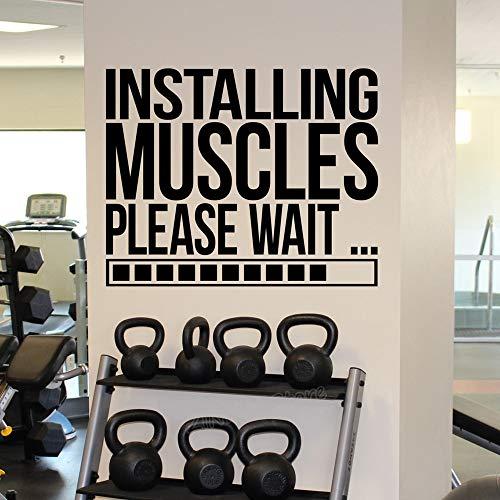 Tianpengyuanshuai Installieren Sie Muskel Laden Wandtattoos Fitnessraum inspirierend Zitat für Männer oder Jungen Zimmer Workout Aufkleber Wandaufkleber 78x63cm
