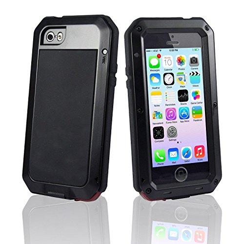NSY Custodia in alluminio impermeabile a prova di urti/sporco/polvere per iPhone 4/4S e iPhone 5S/5Cover in Gorilla Glass - Doppio strato per una protezione estrema, livello militare. , METALLO, Black, iPhone 6