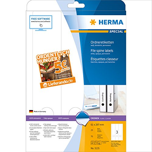 Herma Ordneretiketten A4 weiß 61x297 mm + Lieferando 5