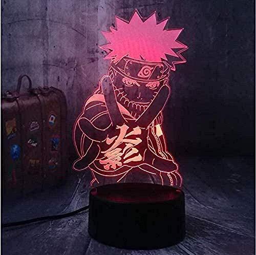 Luz LED 3D de estado de ánimo, luz nocturna de Naruto para habitación infantil, lámpara de mesa, el mejor regalo para Navidad, cumpleaños con mando a distancia