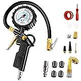 Anykuu Manometro Pressione Gomme per Pneumatici Auto e Moto 220PSI Resistente Manometro per...