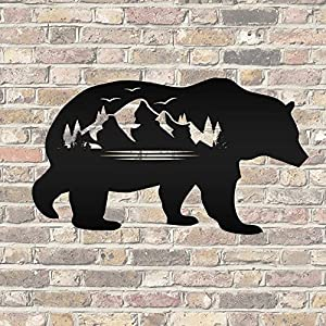 Junasiaas Metal Sign Laser Cut Sign Wall Sculpture Wall Hanging Bear Silhouette with Mountain Scene Metal Sign Metal Art Wall Art Home Decor for Porch Door Garden Cut Out Sign Idea