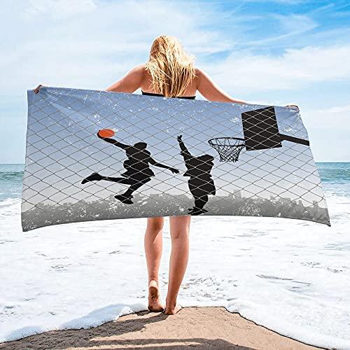 Silueta de Baloncesto Toalla de baño Deportiva Accesorios de baño para Acampar Toalla de Playa de Microfibra Toallas de baño para Adultos - 30 * 30cm