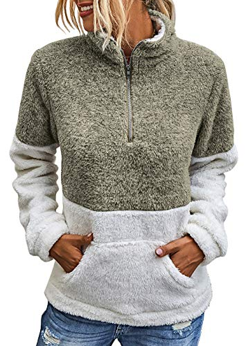 BTFBM Womens Sherpa Pullover Quarter Zip Long Sleeve Fluffy Soft Fleece Jackets Sweaters Sweatshirts Hoodies Outwear Coat (Khaki, Small)