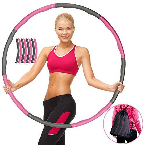 RIXESS Hula Hoop Reifen Erwachsene - Ideal für Anfänger und Fortgeschrittene - Abnehmen mit Fitness Hoola Hoop Reifen zerlegbar inkl Transportbeutel