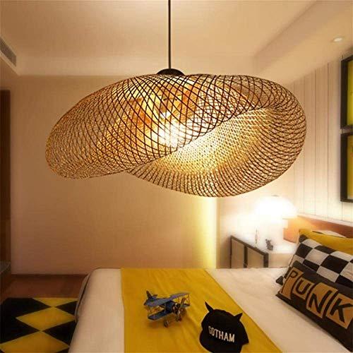 LTongx Hölzerner Kronleuchter Deckenlampenschirm Natürliche Deckenleuchte Holzpendelleuchte Deckenlampenschirme Holzlampen Pendelleuchte Schatten Hängeleuchten E27 60cm