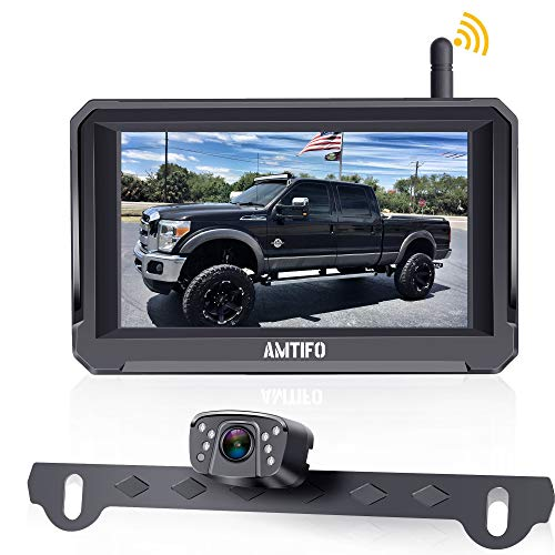 AMTIFO HD 1080P Digital Wireless Backup Camera with 5'' Monitor for Trucks,Cars,Campers,Vans, Observation System with Stable Signal,IP69...