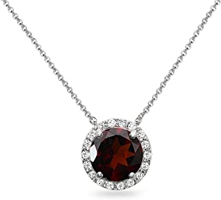 Sterling Silver Genuine, Created or Simulated Gemstone and White Topaz Halo Slide Pendant Necklace for Women Girls