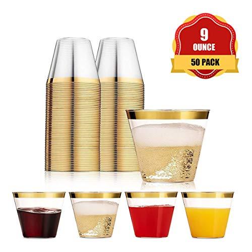 Funhoo 50 Pack 9 oz Plastikbecher Trinkbecher Einweg Durchsichtig Trinkgefäß mit goldenem Rand für Party Geburtstag Hochzeit Bar Cafe Hotel (50 Pack)