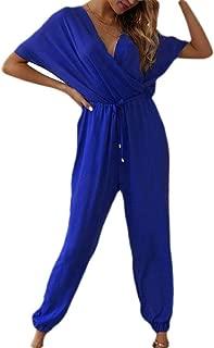 FSSE Women's V-Neck Pockets Short Sleeve Drawstring Waist Jumpsuit Romper
