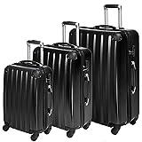 TecTake Polycarbonate Multilayer Set Lot de 3 valises Trolley Valise - avec Serrure à Combinaison intégrée - poignée télescopique - roulettes 360° - diverses Couleurs au Choix - (Noir (No. 401445))