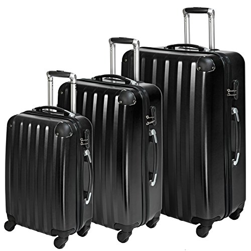 TecTake Policarbonato trolley valigia valigie set rigido borsa - disponibile in diversi colori - (Nero (No. 401445))