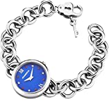 Mujer Correa de Acero Reloj de Diamantes Rubies Azul Lucrezia por marika Gioielli