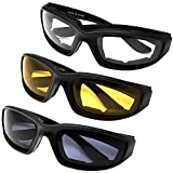 All Weather Protective Shatterproof Polycarbonate Motorcycle Riding Goggle Glasses 3 Pack Set Protective Pouches Included (Assortment Pack)