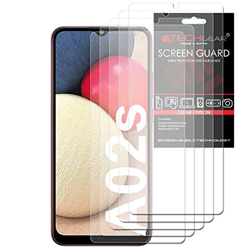 TECHGEAR [5 Pack] Screen Protectors Compatible with Samsung Galaxy A02s, CLEAR LCD Screen Protectors Cover Guards