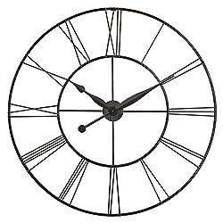 Infinity Instruments Skyscraper XXL Oversized Wall Clock Metal Roman Numeral Clock Numbers 45 inch Huge Wall Clock Open Face Wall Clock (Black)