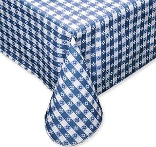 Blue Tavern Check Vinyl Flannel Back Tablecloth - 52