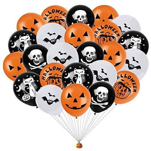 Decoracion con Globos de Halloween,100 Piezas 12 '' Globos de látex con forma de murciélago de calabaza globos halloween,globos naranjas y negros y blancos para la Decoración de Fiestas de Halloween