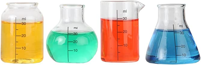 Lily's Home Mini Science Beaker and Flask Shot Glasses, Great Gift for Chemistry and Bio Grads, Nurses and Doctors, Clear (2 to 2 1/8