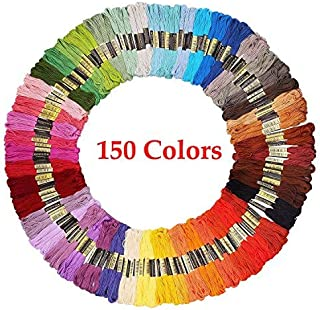 Embroidery Floss Friendship Bracelet String 150 Skeins Multi-Color Cross Stitch Thread with Color Numbers,6 Strand Floss