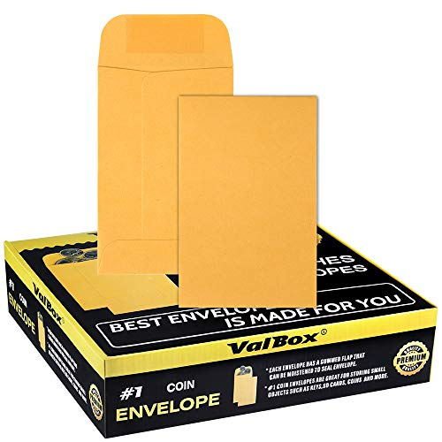 ValBox No.1 Coin Envelopes 2.25x 3.5 Small Parts Envelope with Gummed Flap for Home, Garden or Office Use, Brown Kraft Seed Envelopes 1000 per Box