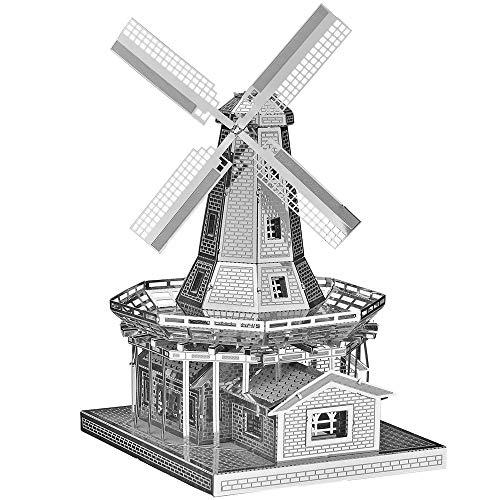 Piececool Metal, modello 3D, puzzle olandese a vento in metallo, modello per risveglio