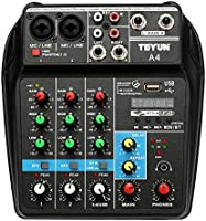 Decdeal TU04 BT Sound Mixing Console Record 48V Phantom Power Monitor AUX Paths Plus Effects 4 Channels Audio Mixer with USB