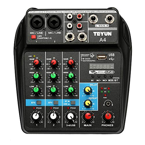 Muslady TU04 Mischpult 4 Kan?le Audio Mixer Sound Mixing Console Record 48V Phantom Power Monitor AUX-Pfade Plus-Effekte mit USB