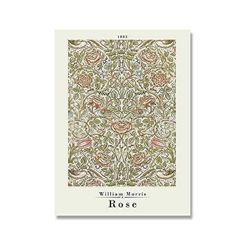 Carteles e impresiones de la exposicin de William Morris, flores de colores, hoja de rosa, metro de Londres Art Nouveau, lienzo sin marco A5 40x60cm