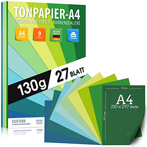 27 Blatt TONPAPIER - Papier DIN A4 - 130g/m² Set 9 Farben – Stabil Bastelpapier & Farbige Blätter, Kinder & DIY Bogen, Zubehör Marine - Grün - Gras - Blau Ozean - Natur farbend zum Basteln & Drucken
