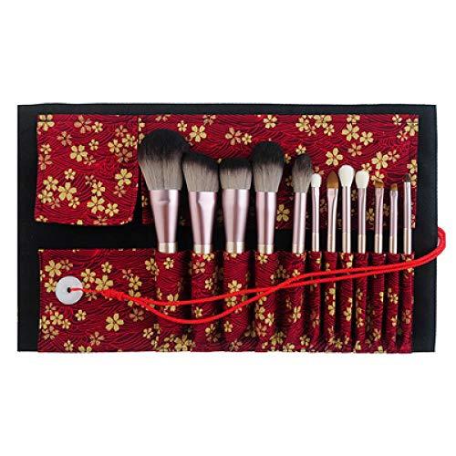 Pinceau De Maquillage, Pinceau À Paupières, Ensemble D'Outils De Maquillage De Vrais Cheveux, 12Pcs + Enveloppe Rouge Sakura