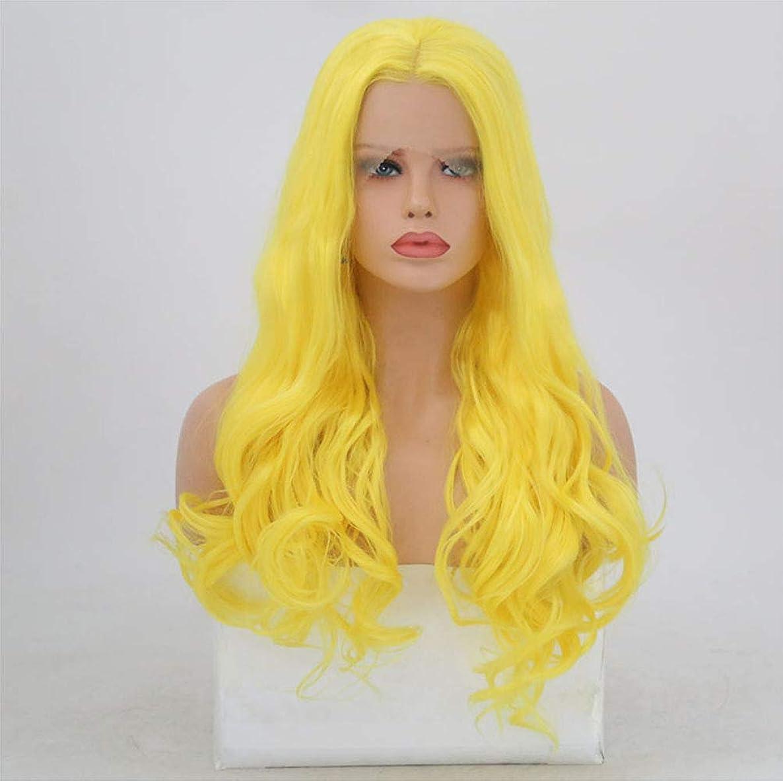の配列パースブラックボロウハイランドかつら女性150%密度カールフロントレース合成耐熱繊維毛髪かつら