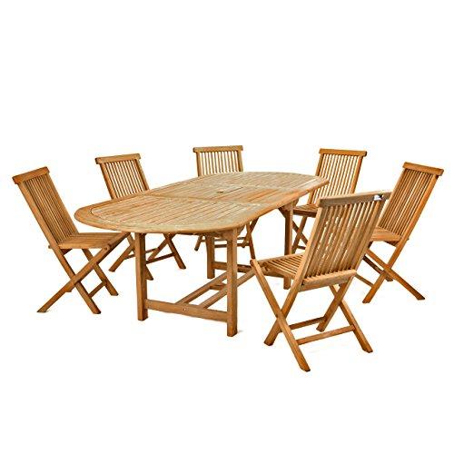 Divero Gartenmöbel-Set Terrassenmöbel-Garnitur Sitzgruppe – großer Esstisch 170/230 cm ausziehbar + 6X Holzstuhl klappbar – Teak massiv behandelt