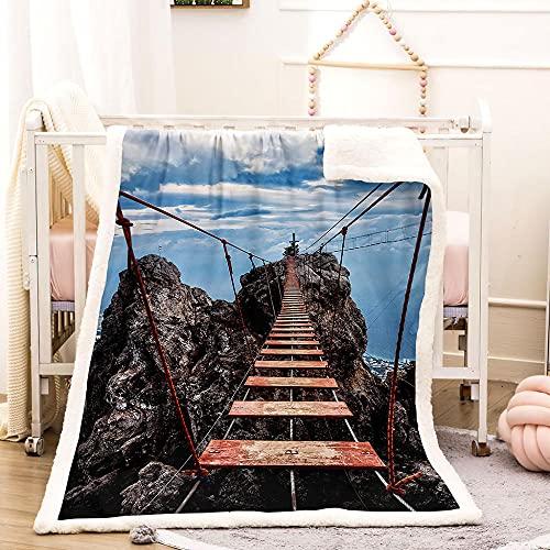Manta Estampada Puente Colgante Siesta Manta 3D Manta Muy Suave Y Cálida,Manta De Viaje para Otoño,Invierno,para Sofá,Cama,Sillón,para Dormitorio Mantas para