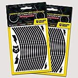 Yellow Bear© Easy Wheel Kit Liserets de Jante rétro réfléchissant REPOSIONNABLE pour 2 Roues complètes de 15' à 19' 3M Scotchlite™ Material (10mm)