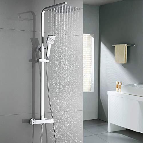 Auralum Duschsystem Thermostat, 2 Funktionen Regendusche Duschset inkl 10 Zoll Überkopfbrause, ABS Handbrause 1500mm Schlauch, Thermostatischer Duschmischer mit Verstellbarer Duschstange für Badzimmer