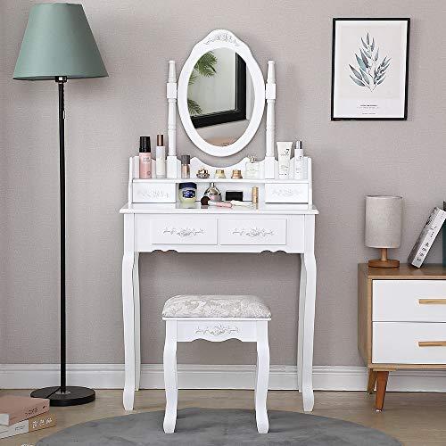 Coiffeuse avec Miroir Pivotant à 360°,4 Tiroirs, Tabouret Rembourré, pour Maquillage, Bijoux, Chambre à Coucher (75x40x145cm)