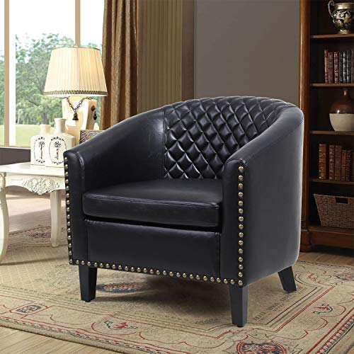 Barrel Accent Chair with Arms Faux Leather Club Chairs Side Chairs Upholstered Tub Chair for Living Room Bedroom,Black