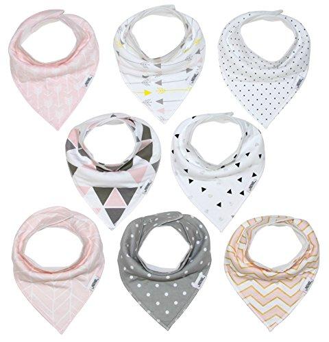 Baby Bandana Bibs | Teething Bibs For Baby Girls, Newborns, Set of 8 Baby Bibs and Burp Cloths - Organic, Adjustable & Absorbent Baby Bandana Drool Bibs by Matimati Baby (Blush Pink)