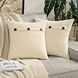 MIULEE Pack of 2 Chenille Rustic Farmhouse Decorative Throw Pillow Covers Cushion Case Triple Button Vintage Farmhouse Pillowcase for Sofa Living Room Bedroom 16X16 Inch Cream White