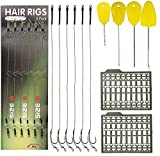JSHANMEI 25pcs Carp Fishing Hair Rigs Kit, Including 18pcs Carp Rigs 3 Cards Boilie Stoppers and 4pcs Bait Needle Tool Carp Fishing Leader Rigging Terminal Tackle Set
