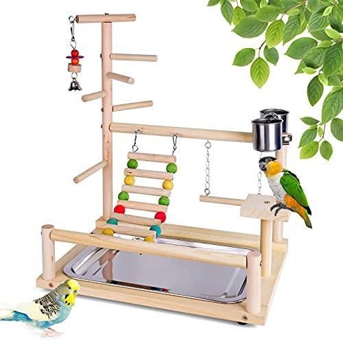 Roseflower Vögel Spielplatz, Stabilität Holz-Vogelspielständer Vögel Gym Vogelzubehör für Zapfen, Papageien, Finken usw. mit Edelstahl-Futtertreppenschaukel #5