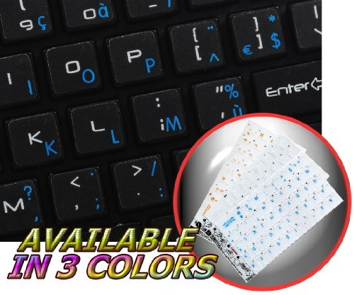 MAC FRENCH AZERTY KEYBOARD STICKERS WITH BLUE LETTERING ON TRANSPARENT BACKGROUND FOR DESKTOP, LAPTOP AND NOTEBOOK