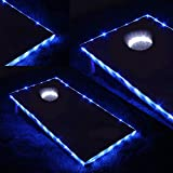 Blinngo Cornhole Lights, Cornhole Led Lights fit for Cornhole Boards, Cornhole Bags, Backyard Bean Bag Toss Game, Two White Cornhole Rings Lights and Two Cornhole Edge Lights …